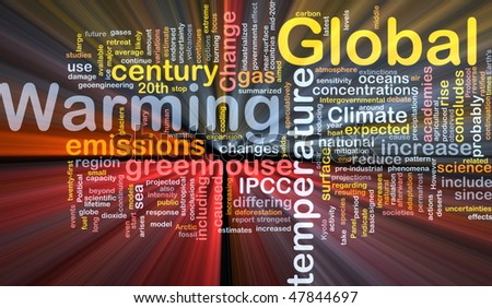 Background concept wordcloud illustration of global warming greenhouse glowing light - stock photo