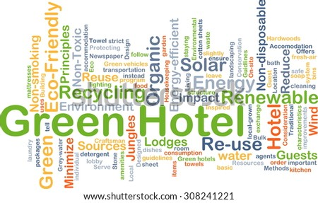 Background concept wordcloud illustration of green hotel - stock photo