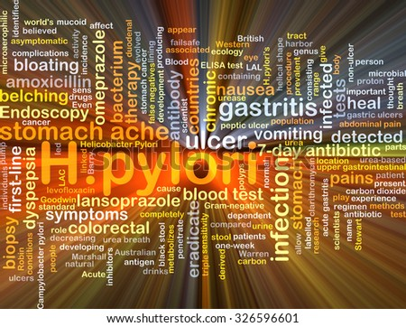 Background concept wordcloud illustration of H.pylori glowing light - stock photo