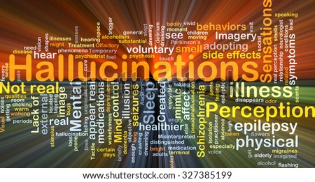 Background concept wordcloud illustration of hallucination glowing light - stock photo