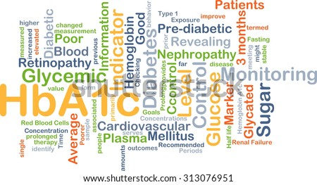 Background concept wordcloud illustration of HbA1c - stock photo