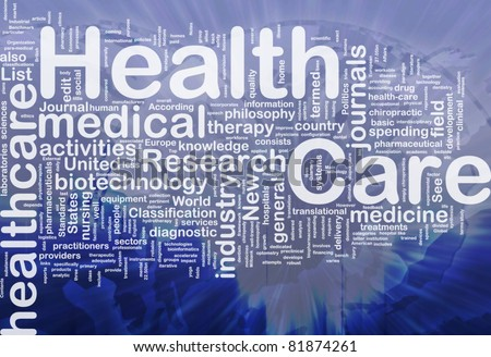 Background concept wordcloud illustration of health care international - stock photo