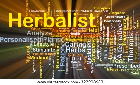 Background concept wordcloud illustration of herbalist glowing light - stock photo