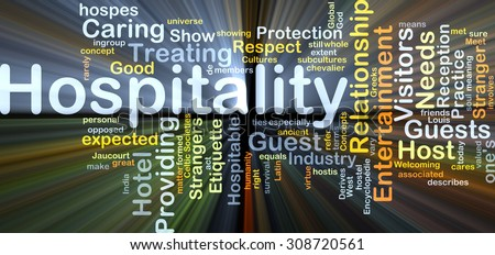 Background concept wordcloud illustration of hospitality glowing light - stock photo
