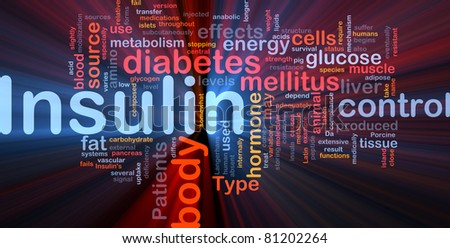 Background concept wordcloud illustration of insulin diabetes control glowing light - stock photo