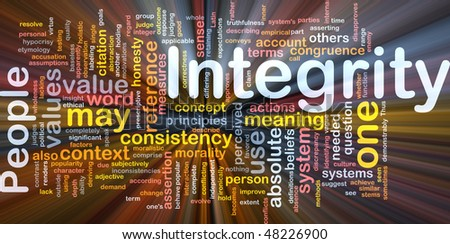 Background concept wordcloud illustration of integrity principles values glowing light