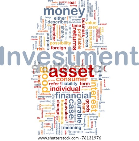 Background concept wordcloud illustration of investment - stock photo