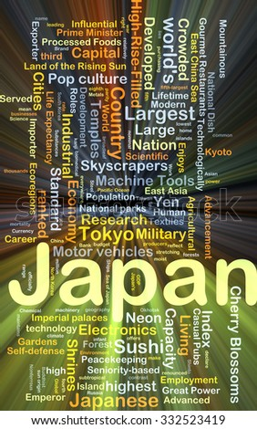 Background concept wordcloud illustration of Japan glowing light - stock photo