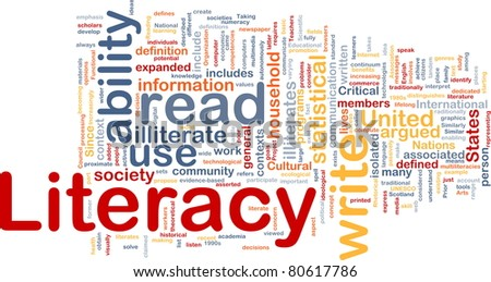 Background concept wordcloud illustration of literacy - stock photo