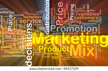 Background concept wordcloud illustration of marketing mix strategy glowing light - stock photo