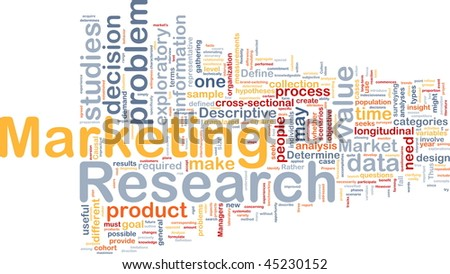 Background concept wordcloud illustration of marketing research strategy