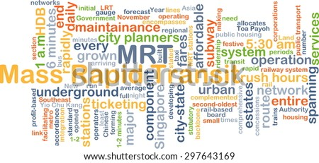 Background concept wordcloud illustration of mass rapid transit MRT