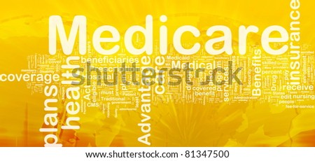 Background concept wordcloud illustration of medicare international - stock photo