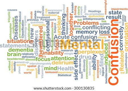 Background concept wordcloud illustration of mental confusion