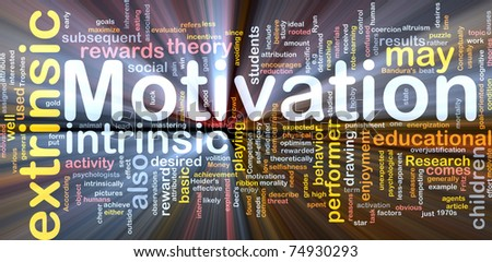 Background concept wordcloud illustration of motivation glowing light - stock photo
