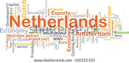 Background concept wordcloud illustration of Netherlands
