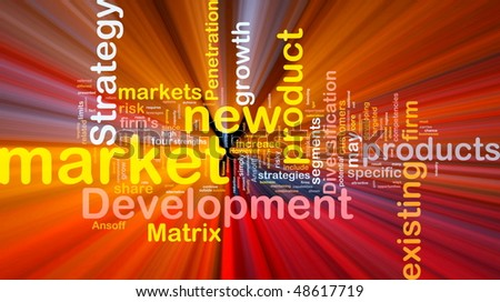 Background concept wordcloud illustration of new market development glowing light - stock photo