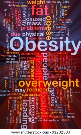Background concept wordcloud illustration of obesity fat overweight glowing light - stock photo