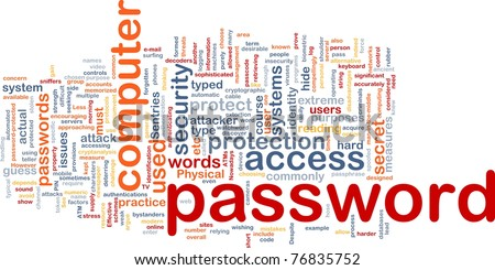 Background concept wordcloud illustration of password - stock photo