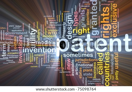 Background concept wordcloud illustration of patent glowing light - stock photo
