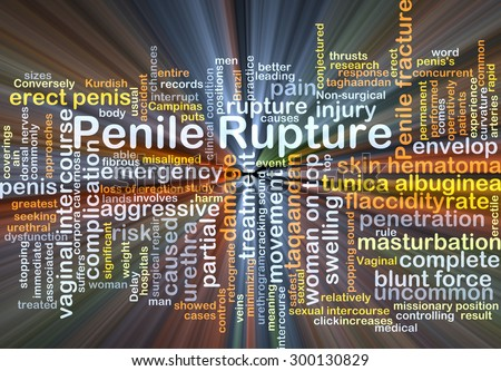 Background concept wordcloud illustration of penile rupture glowing light