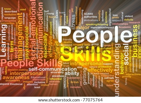 Background concept wordcloud illustration of people skills glowing light - stock photo