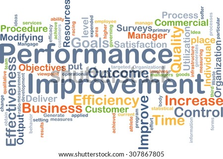 Background concept wordcloud illustration of performance improvement - stock photo