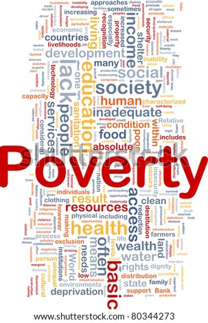 Background concept wordcloud illustration of poverty - stock photo