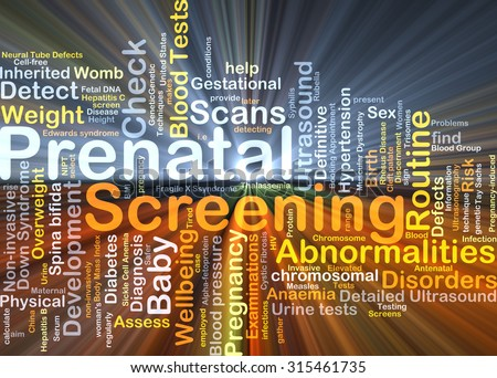 Background concept wordcloud illustration of prenatal screening glowing light - stock photo