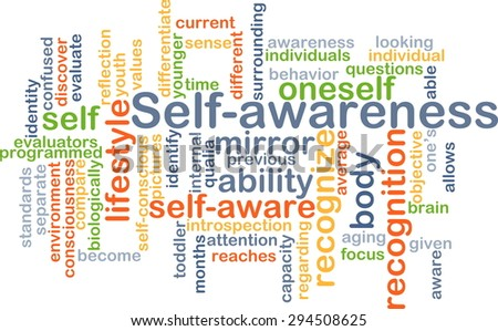 Background concept wordcloud illustration of self-awareness - stock photo