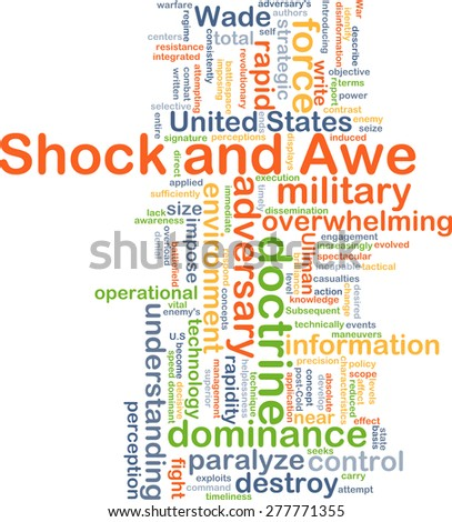 Background concept wordcloud illustration of shock and awe - stock photo