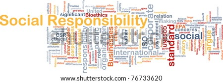 Background concept wordcloud illustration of social responsibility - stock photo