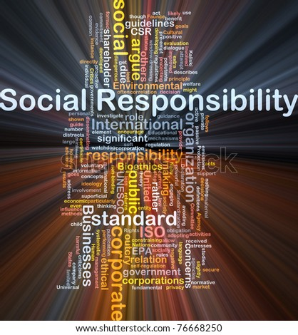 Background concept wordcloud illustration of social responsibility glowing light - stock photo