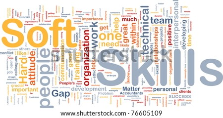Background concept wordcloud illustration of soft skills - stock photo