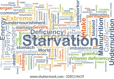 Background concept wordcloud illustration of starvation