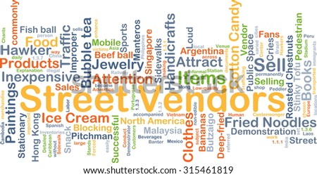 Background concept wordcloud illustration of street vendors