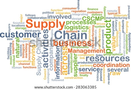 Background concept wordcloud illustration of supply chain - stock photo