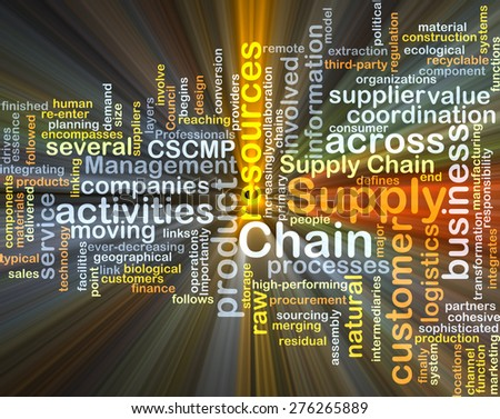 Background concept wordcloud illustration of supply chain glowing light - stock photo