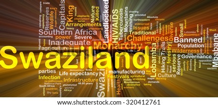 Background concept wordcloud illustration of Swaziland glowing light