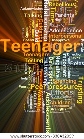 Background concept wordcloud illustration of teenager glowing light
