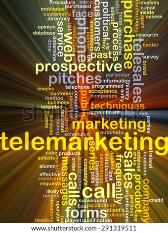 Background concept wordcloud illustration of telemarketing glowing light