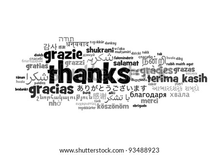 Background concept wordcloud illustration of thanks different languages - stock photo