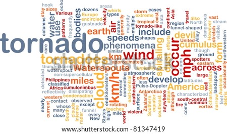 Background concept wordcloud illustration of tornado storm weather