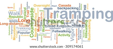 Background concept wordcloud illustration of tramping