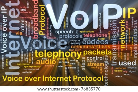 Background concept wordcloud illustration of VoIP glowing light - stock photo