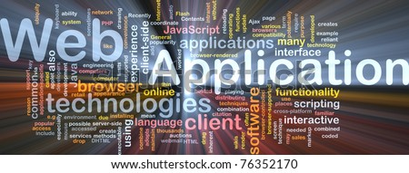 Background concept wordcloud illustration of web application glowing light - stock photo