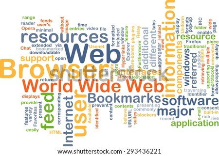 Background concept wordcloud illustration of web browser