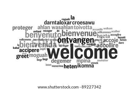 Background concept wordcloud illustration of welcome different languages - stock photo