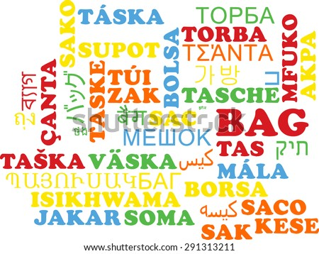 Background concept wordcloud multilanguage international many language illustration of bag