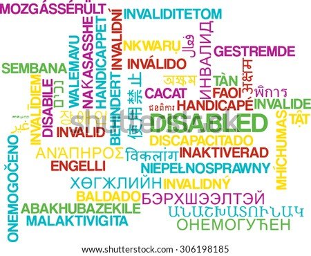 Background concept wordcloud multilanguage international many language illustration of disabled
